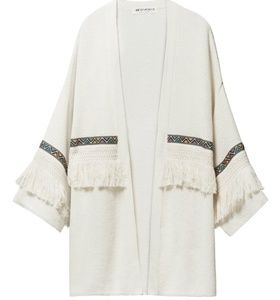 H&M Coachella Embroidered Fringe Cardigan, szS